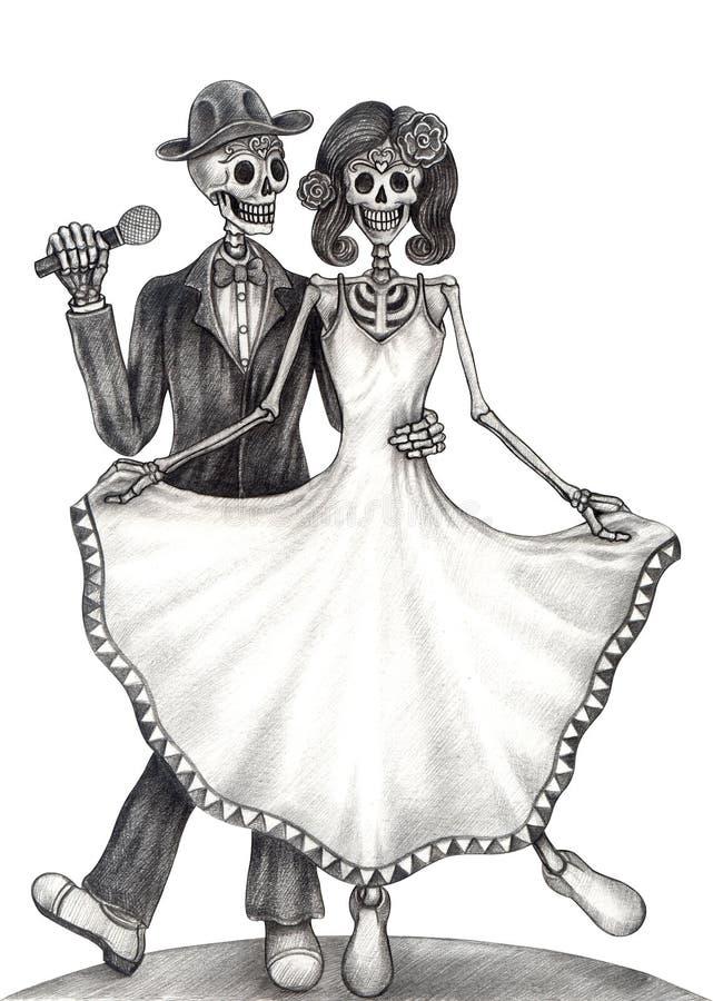 Ημέρα γάμου τέχνης κρανίων των νεκρών διανυσματική απεικόνιση