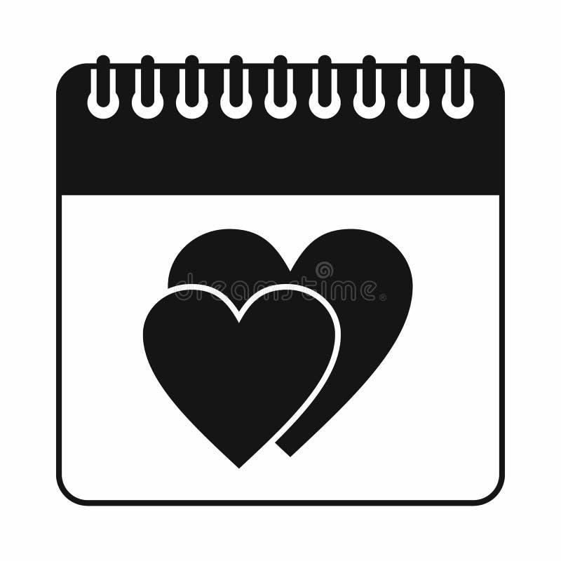 Ημέρα γαμήλιας ημερομηνίας στο ημερολογιακό εικονίδιο, απλό ύφος διανυσματική απεικόνιση