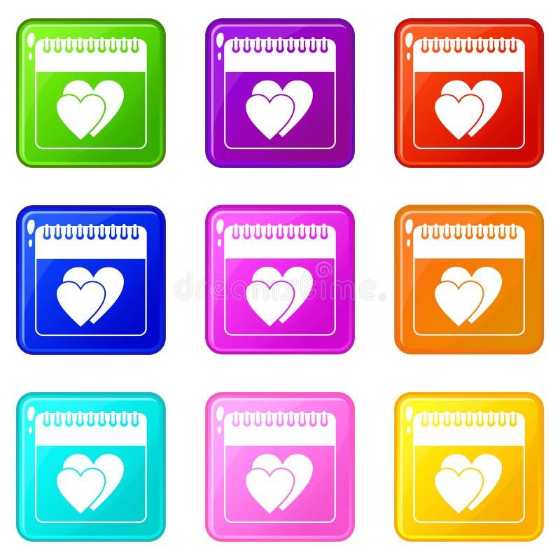 Ημέρα γαμήλιας ημερομηνίας στο ημερολογιακό σύνολο 9 ελεύθερη απεικόνιση δικαιώματος