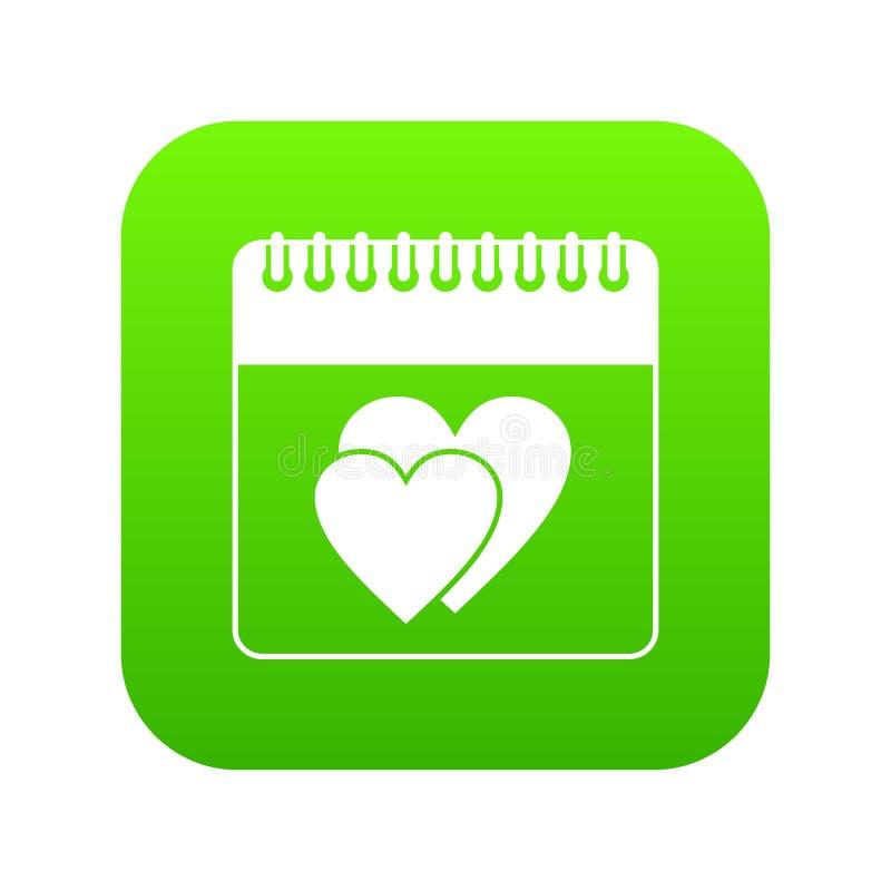 Ημέρα γαμήλιας ημερομηνίας ψηφιακό σε πράσινο ημερολογιακών εικονιδίων διανυσματική απεικόνιση