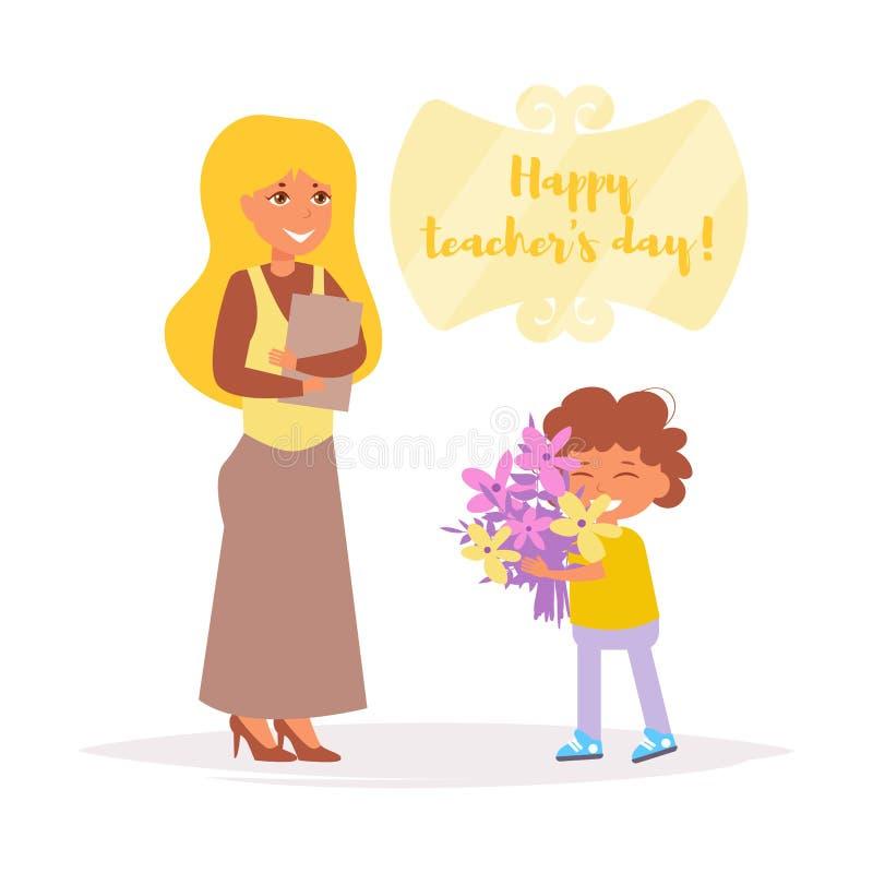 Ημέρα δασκάλων ` s Ο σπουδαστής δίνει το διάνυσμα λουλουδιών δασκάλων cartoon απομονωμένος διανυσματική απεικόνιση