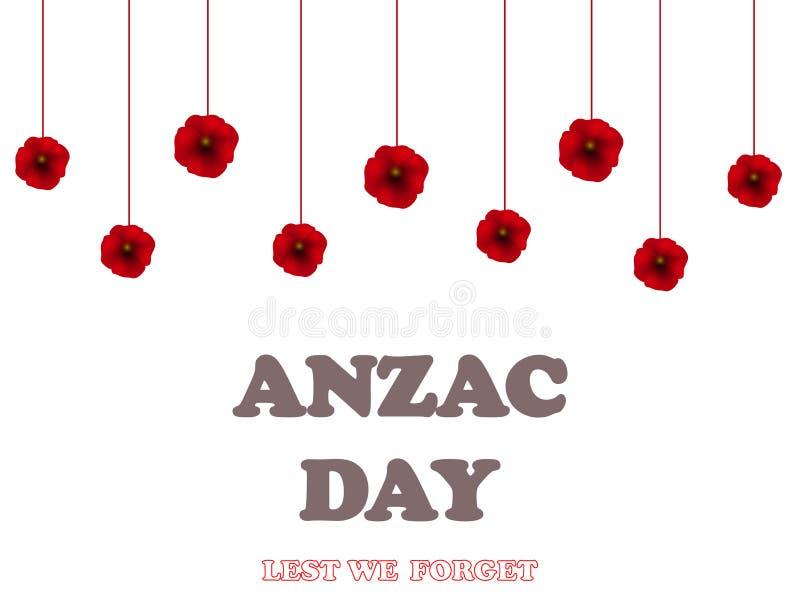 Ημέρα ενθύμησης, ημέρα Anzac, υπόβαθρο ημέρας παλαιμάχων με τις παπαρούνες ξεχάστε για να μην διανυσματική απεικόνιση