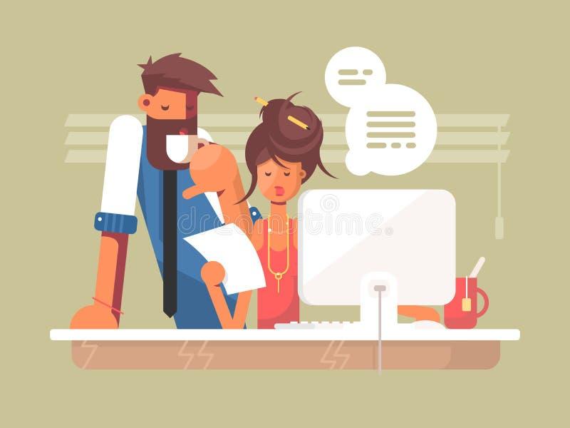 Ημέρα εργασίας γραφείων διανυσματική απεικόνιση