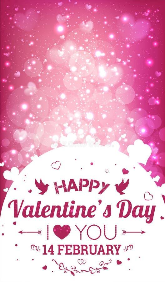 ημέρα καρτών που χαιρετά τους ευτυχείς βαλεντίνους σας αγαπώ Στις 14 Φεβρουαρίου ελεύθερη απεικόνιση δικαιώματος