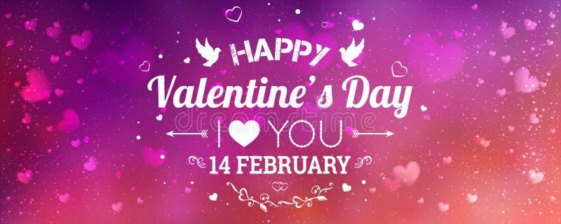 ημέρα καρτών που χαιρετά τους ευτυχείς βαλεντίνους σας αγαπώ Στις 14 Φεβρουαρίου διανυσματική απεικόνιση