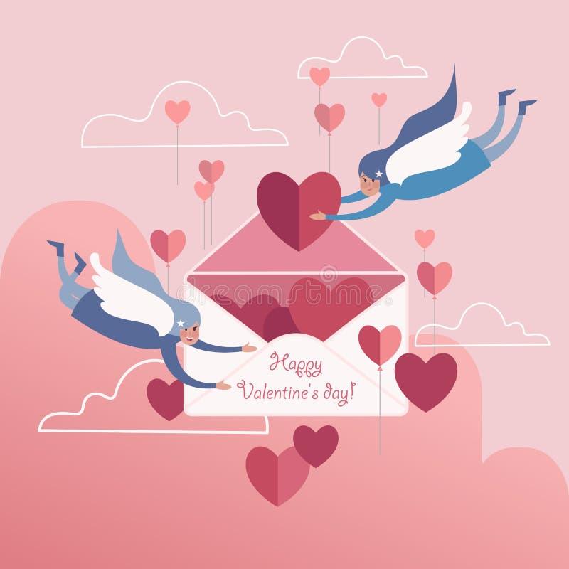 ημέρα καρτών που χαιρετά τους ευτυχείς βαλεντίνους διανυσματική απεικόνιση