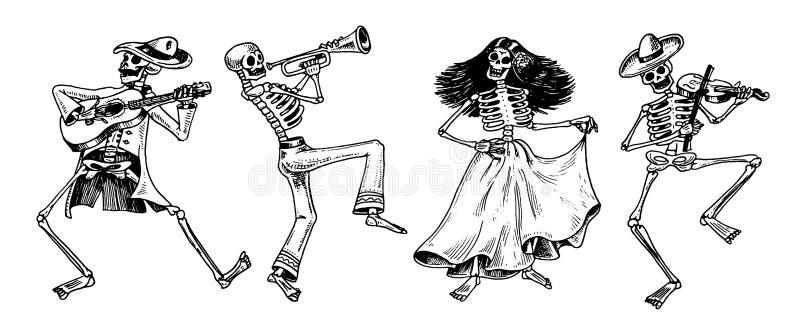ημέρα νεκρή Μεξικάνικη εθνική εορτή Αρχική επιγραφή ισπανικό Dia de Los Muertos Σκελετοί στα κοστούμια διανυσματική απεικόνιση