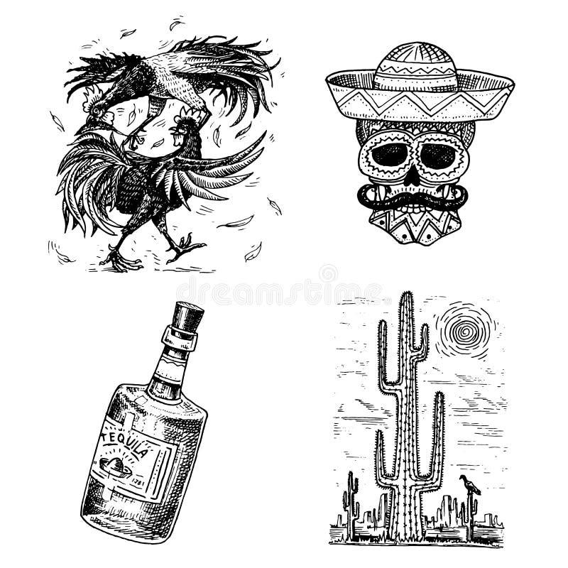 ημέρα νεκρή Μεξικάνικη εθνική εορτή με την αρχική επιγραφή ισπανικό Dia de Los Muertos Σκελετός και ελεύθερη απεικόνιση δικαιώματος
