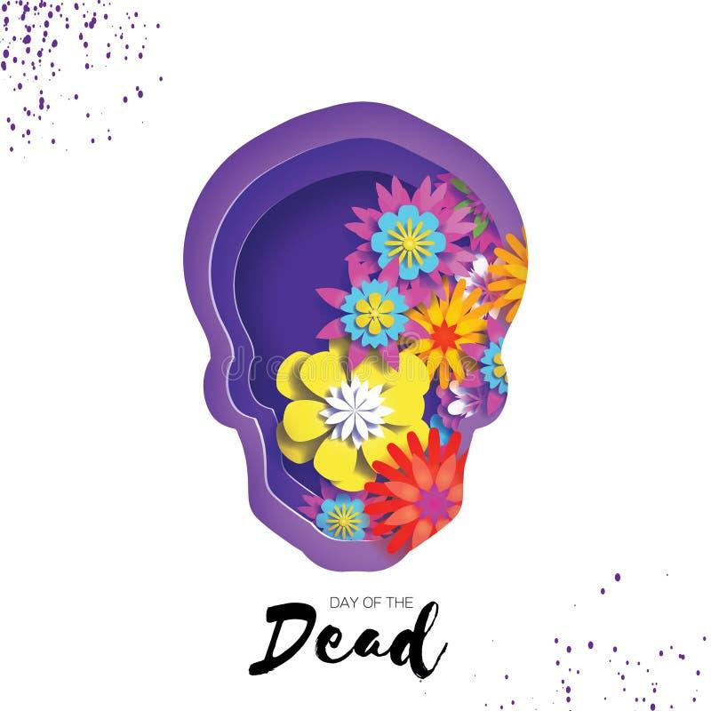 ημέρα νεκρή Πλαίσιο κρανίων περικοπών εγγράφου για το κείμενο Μεξικάνικος εορτασμός Dia de muertos στο λευκό Origami cempasuchil διανυσματική απεικόνιση
