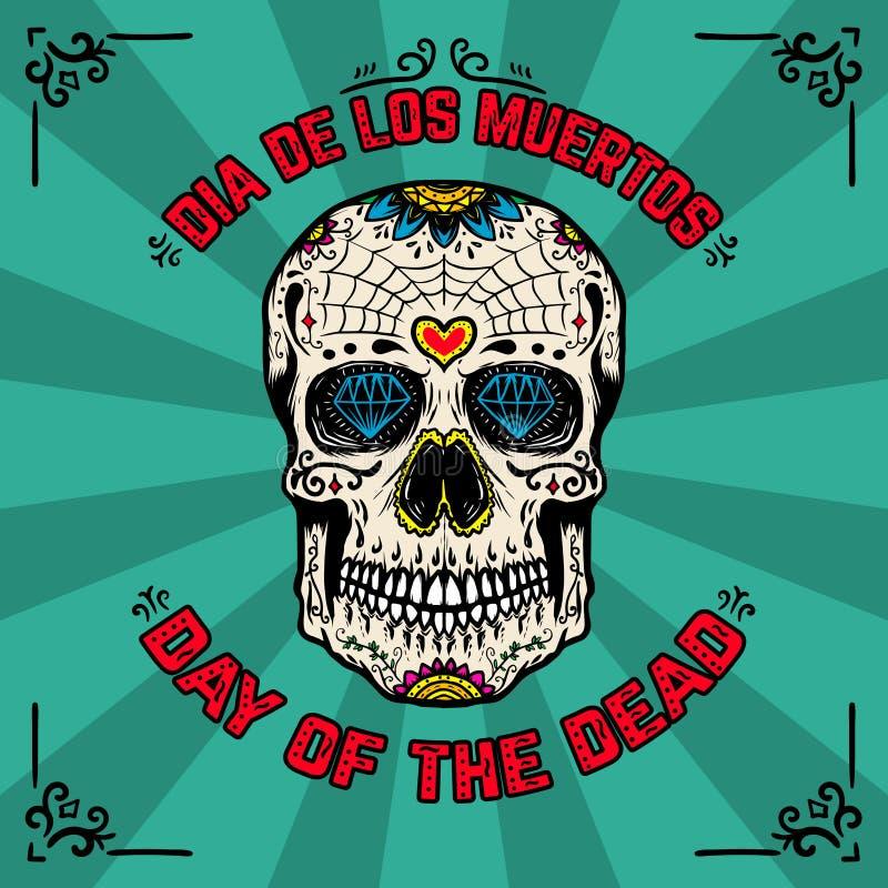 ημέρα νεκρή Dia de Los Muertos Πρότυπο εμβλημάτων με το μεξικάνικο κρανίο ζάχαρης στο υπόβαθρο με το floral σχέδιο Στοιχείο FO σχ διανυσματική απεικόνιση