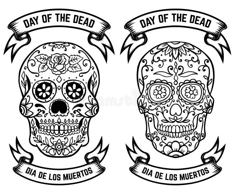 ημέρα νεκρή Dia de Los Muertos Σύνολο των κρανίων ζάχαρης Στοιχεία σχεδίου για την αφίσα, ευχετήρια κάρτα, έμβλημα Διανυσματικό i απεικόνιση αποθεμάτων