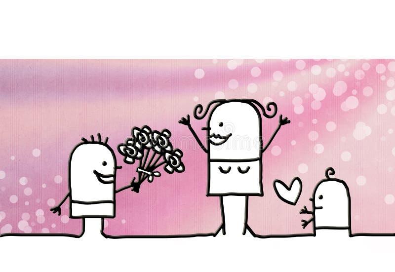 Ημέρα οικογενειών κινούμενων σχεδίων και μητέρων ` s ελεύθερη απεικόνιση δικαιώματος