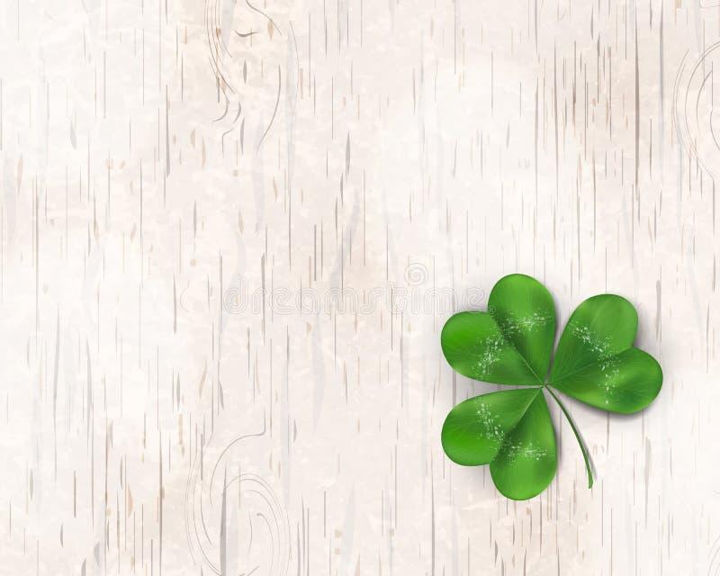 ημέρα ο ευτυχής Πάτρικ s ST Σχέδιο ημέρας του ST patricks με το φύλλο τριφυλλιού τριφυλλιών, ιρλανδικό σύμβολο φεστιβάλ στο ξύλιν ελεύθερη απεικόνιση δικαιώματος