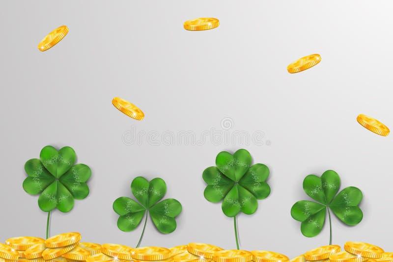 ημέρα ο ευτυχής Πάτρικ s ST Σχέδιο ημέρας του ST patricks με το φύλλο τριφυλλιού τριφυλλιών, ιρλανδικό σύμβολο φεστιβάλ, χρυσά νο ελεύθερη απεικόνιση δικαιώματος