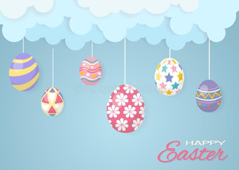 Ημέρα Πάσχας, αυγά με το σύννεφο και τον ουρανό διανυσματική απεικόνιση