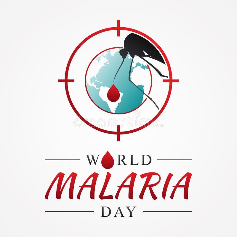 Ημέρα παγκόσμιας ελονοσίας με το γραφικό κουνούπι στόχων απεικόνιση αποθεμάτων