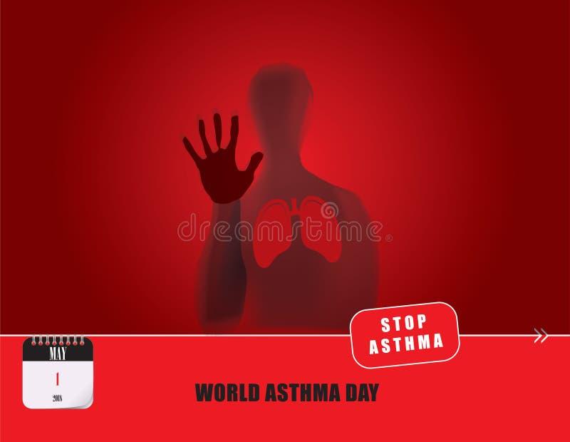 Ημέρα παγκόσμιου άσθματος καρτών ελεύθερη απεικόνιση δικαιώματος