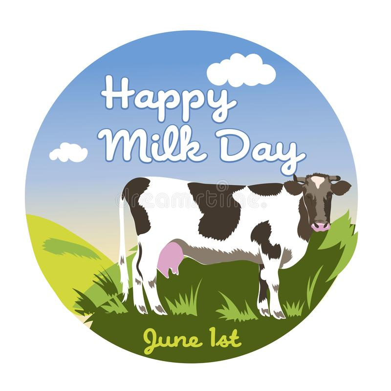 Ημέρα παγκόσμιου γάλακτος - κάρτα, αφίσα ή έμβλημα διανυσματική απεικόνιση