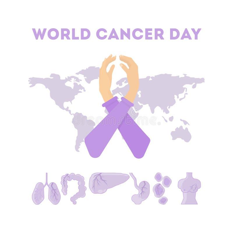 Ημέρα παγκόσμιου καρκίνου διανυσματική απεικόνιση
