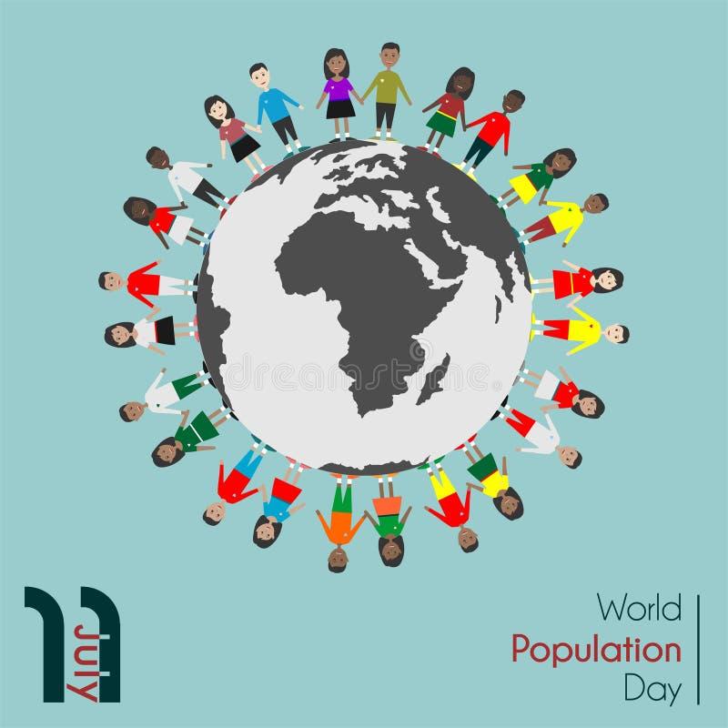Ημέρα παγκόσμιου πληθυσμού στις 11 Ιουλίου διανυσματική απεικόνιση