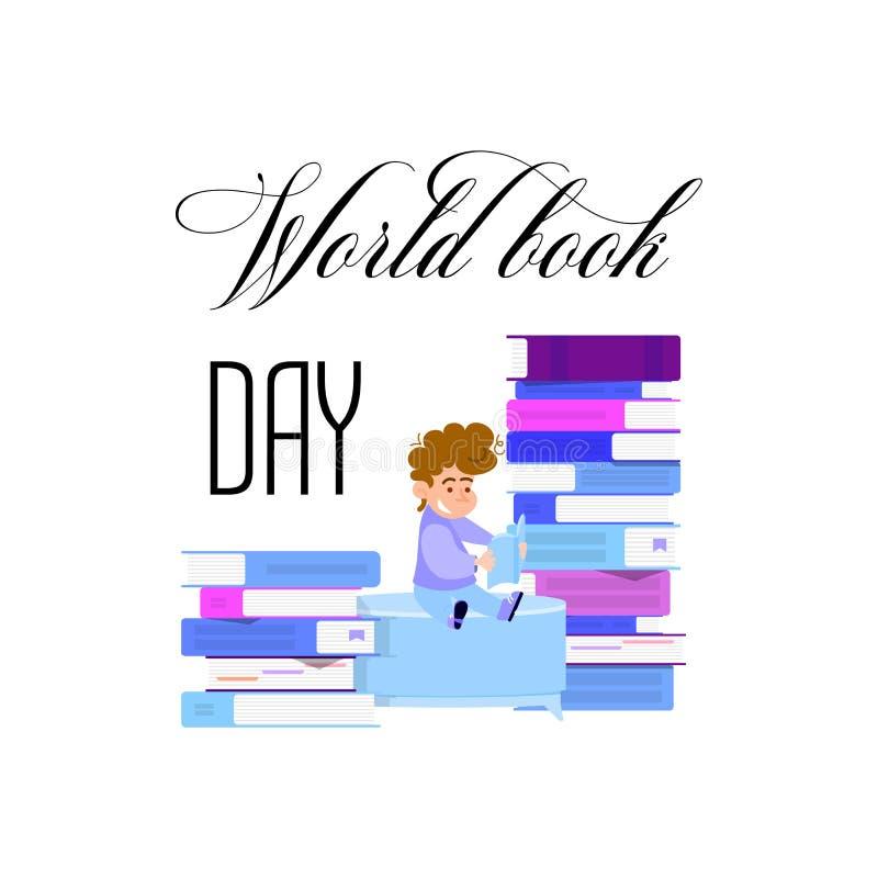 Ημέρα παγκόσμιων βιβλίων, αφίσα διακοπών - επίπεδο σχέδιο ελεύθερη απεικόνιση δικαιώματος
