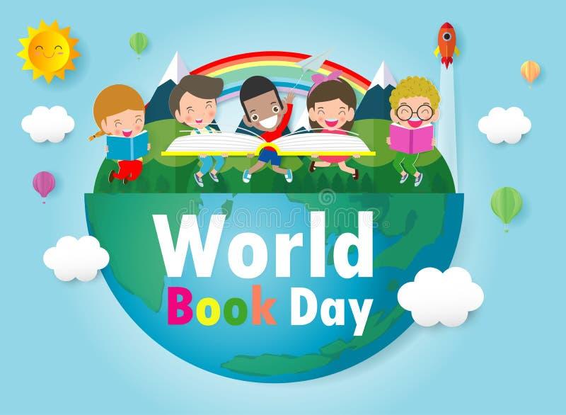 Ημέρα παγκόσμιων βιβλίων, βιβλία ανάγνωσης παιδιών, έννοια εκπαίδευσης, ευτυχής διανυσματική απεικόνιση ημέρας βιβλίων ελεύθερη απεικόνιση δικαιώματος