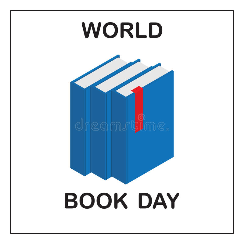Ημέρα παγκόσμιων βιβλίων Εικόνα τριών μπλε βιβλίων με μια κόκκινη ετικέττα απεικόνιση αποθεμάτων