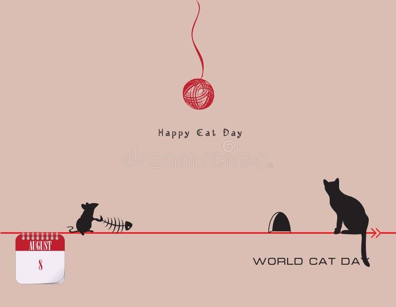 Ημέρα παγκόσμιων γατών καρτών διανυσματική απεικόνιση