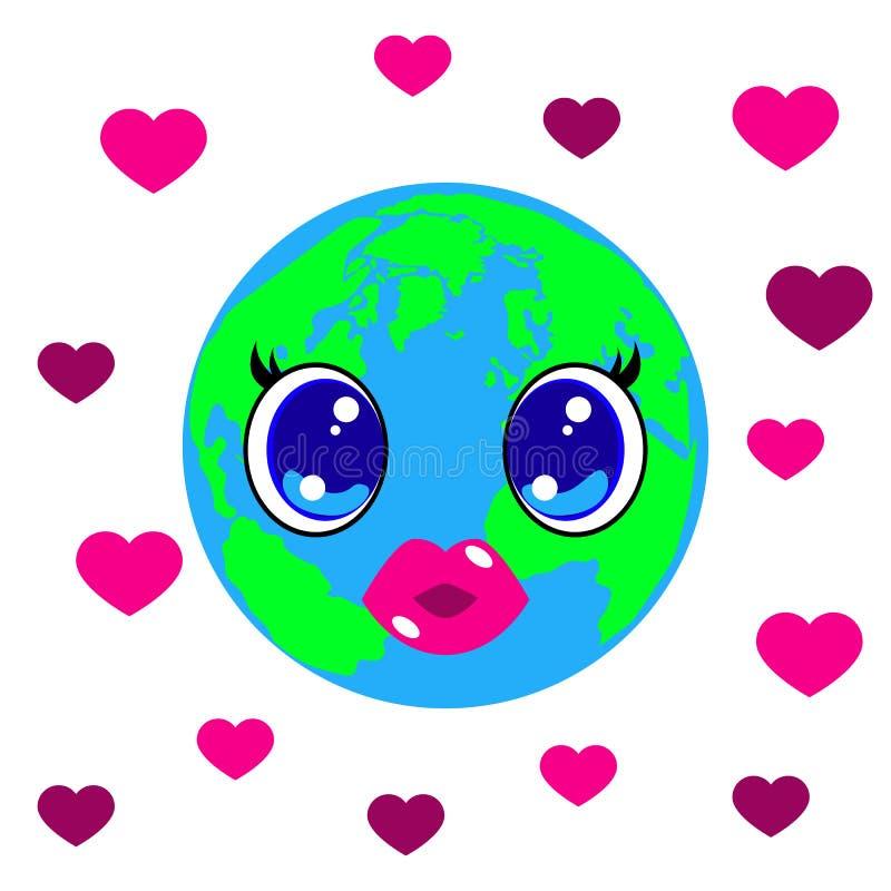 Ημέρα παγκόσμιων φιλιών 6 Ιουλίου Ύφος Kawai - μάτια και χείλια Πλανήτης Γη, καρδιές ελεύθερη απεικόνιση δικαιώματος