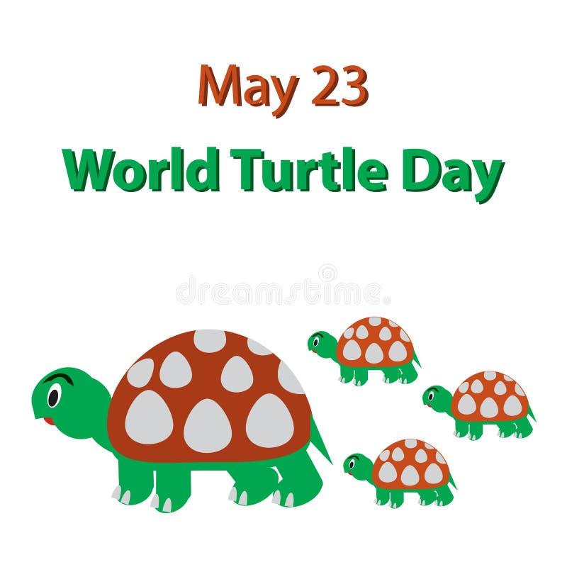 Ημέρα παγκόσμιων χελωνών 23 Μαΐου Οικογένεια των χελωνών r ελεύθερη απεικόνιση δικαιώματος
