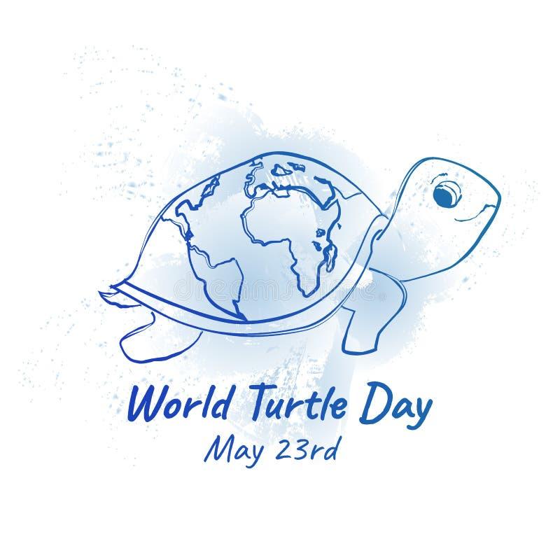 Ημέρα παγκόσμιων χελωνών bunner ή κάρτα απεικόνιση αποθεμάτων