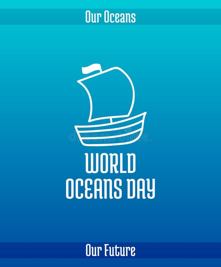 Ημέρα παγκόσμιων ωκεανών ελεύθερη απεικόνιση δικαιώματος
