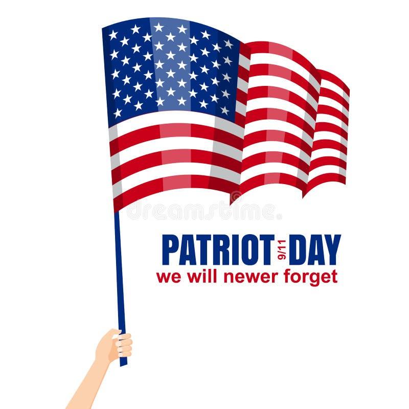 Ημέρα πατριωτών 11 Σεπτεμβρίου Δεν θα ξεχάσουμε ποτέ, το χέρι κρατά τη αμερικανική σημαία, διάνυσμα, που απομονώνεται, απεικόνιση απεικόνιση αποθεμάτων