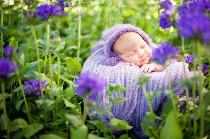 17 ημέρα που χαμογελά το νεογέννητο μωρό κοιμάται στο στομάχι του στο καλάθι στη φύση στον κήπο υπαίθριο στοκ φωτογραφία με δικαίωμα ελεύθερης χρήσης