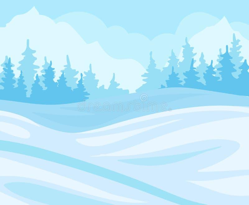 Ημέρα στο χειμερινό δασικό, χιονώδες τοπίο με τα δέντρα έλατου και τη διανυσματική απεικόνιση υποβάθρου λόφων απεικόνιση αποθεμάτων