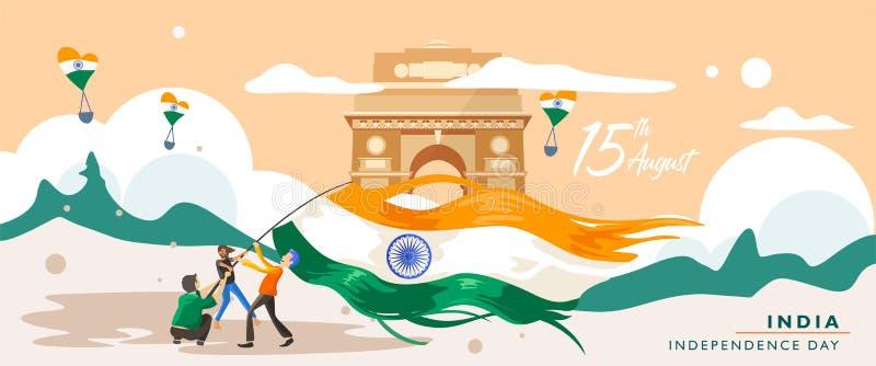 Ημέρα της ανεξαρτησίας της Ινδίας 15 Αυγούστου κτήριο κληρονομιάς πυλών της Ινδίας Πρότυπο ευχετήριων καρτών, εμβλημάτων και αφισ ελεύθερη απεικόνιση δικαιώματος