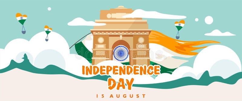 Ημέρα της ανεξαρτησίας της Ινδίας 15 Αυγούστου κτήριο κληρονομιάς πυλών της Ινδίας Πρότυπο ευχετήριων καρτών, εμβλημάτων και αφισ απεικόνιση αποθεμάτων