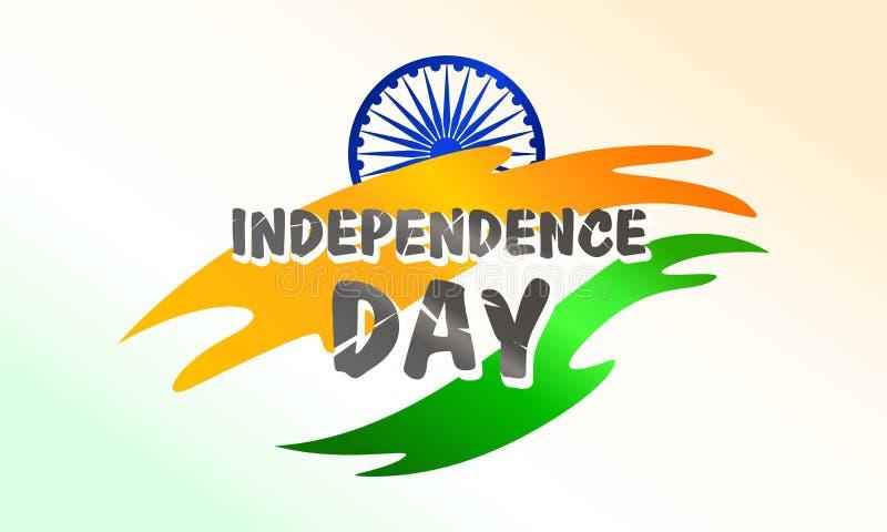 Ημέρα της ανεξαρτησίας της Ινδίας Σημαία και σύμβολο Για τη ευχετήρια κάρτα, πρότυπο αφισών και εμβλημάτων r απεικόνιση αποθεμάτων