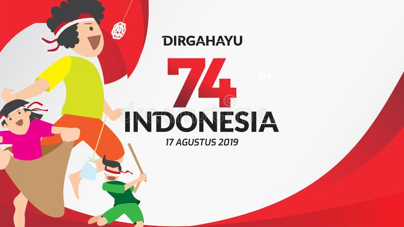 Ημέρα της ανεξαρτησίας της Ινδονησίας διανυσματική απεικόνιση
