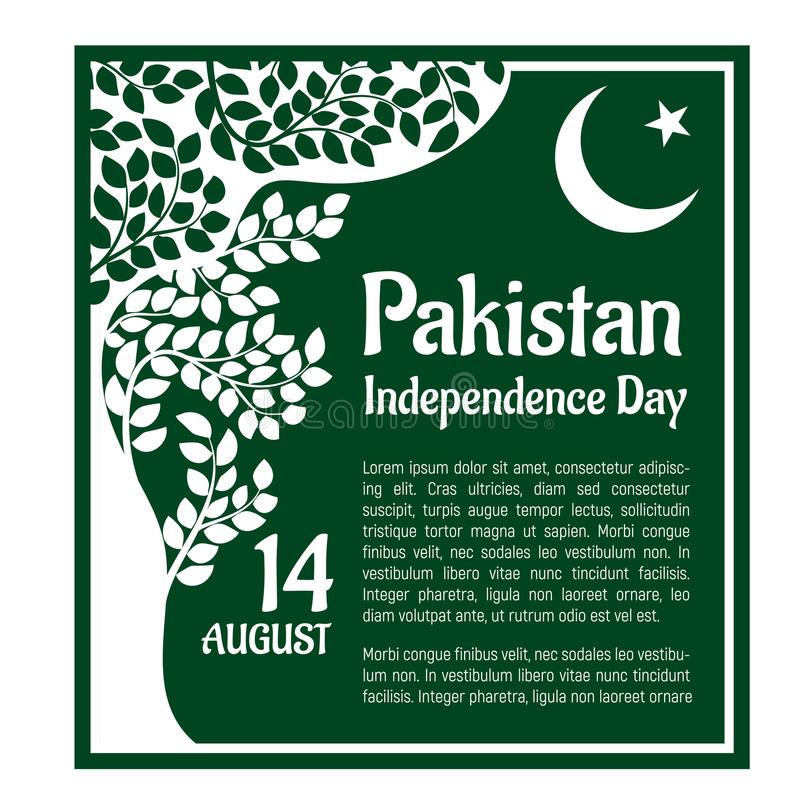 Ημέρα της ανεξαρτησίας του Πακιστάν, στις 14 Αυγούστου απεικόνιση αποθεμάτων