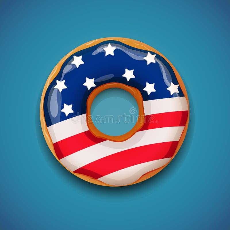 Ημέρα της ανεξαρτησίας - doughnut με τη σημαία των ΗΠΑ ελεύθερη απεικόνιση δικαιώματος