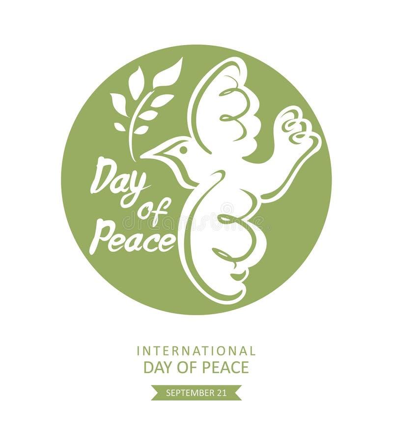 Ημέρα της ειρήνης Στρογγυλό πράσινο πρότυπο με το περιστέρι και τον κλάδο διανυσματική απεικόνιση