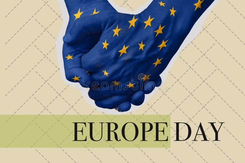 Ημέρα της Ευρώπης κειμένων σε ένα κολάζ σύγχρονης τέχνης στοκ φωτογραφία με δικαίωμα ελεύθερης χρήσης