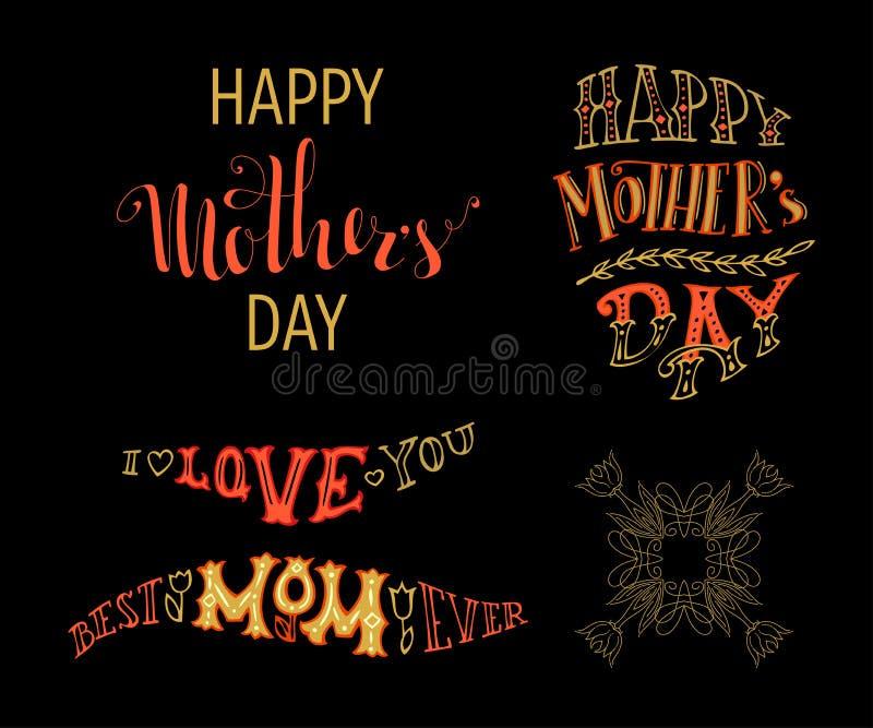 Ημέρα της ευτυχούς μητέρας! Καλύτερο Mom πάντα σας αγαπώ ελεύθερη απεικόνιση δικαιώματος
