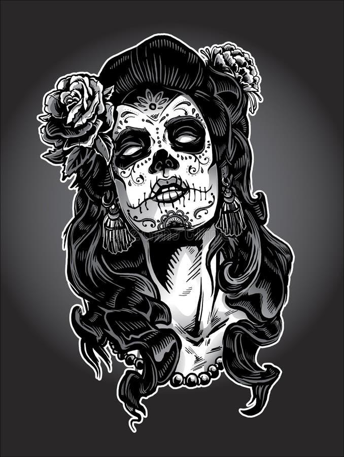 Ημέρα της νεκρής γυναίκας με το χρώμα προσώπου κρανίων ζάχαρης απεικόνιση αποθεμάτων