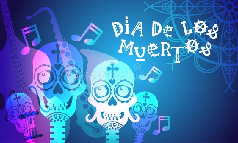 Ημέρα της νεκρής παραδοσιακής μεξικάνικης διακόσμησης κόμματος αποκριών Dia de Los Muertos Holiday απεικόνιση αποθεμάτων
