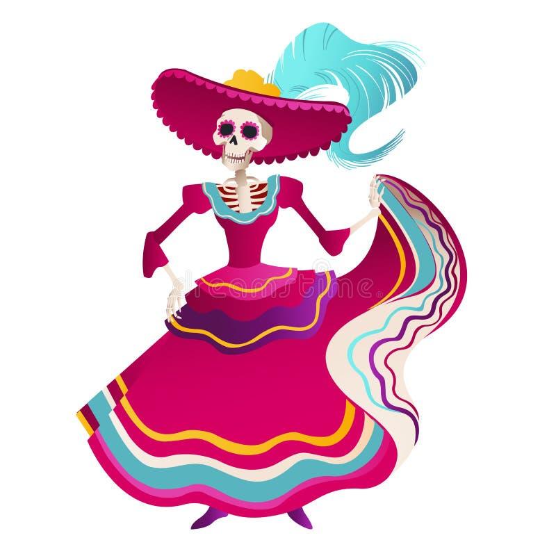 Ημέρα της νεκρής παραδοσιακής μεξικάνικης επίπεδης διανυσματικής απεικόνισης πρόσκλησης εμβλημάτων διακοσμήσεων κόμματος αποκριών διανυσματική απεικόνιση