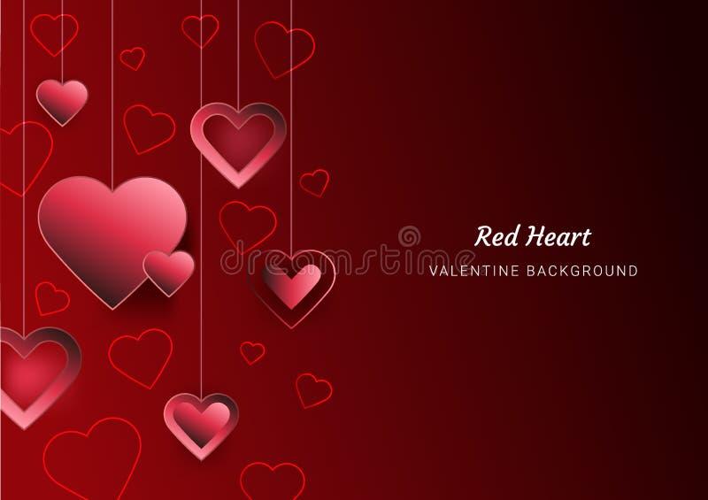 Ημέρα του βαλεντίνου αγάπης καρδιών, κόκκινο ρόδινο υπόβαθρο, ευχετήρια κάρτα, διάστημα κειμένων, αφίσες, φυλλάδιο, εμβλήματα, ισ απεικόνιση αποθεμάτων