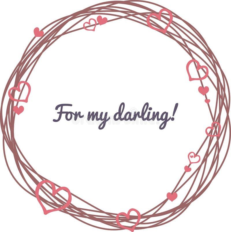 Ημέρα του βαλεντίνου καρτών Στεφάνι με τις καρδιές διανυσματική απεικόνιση