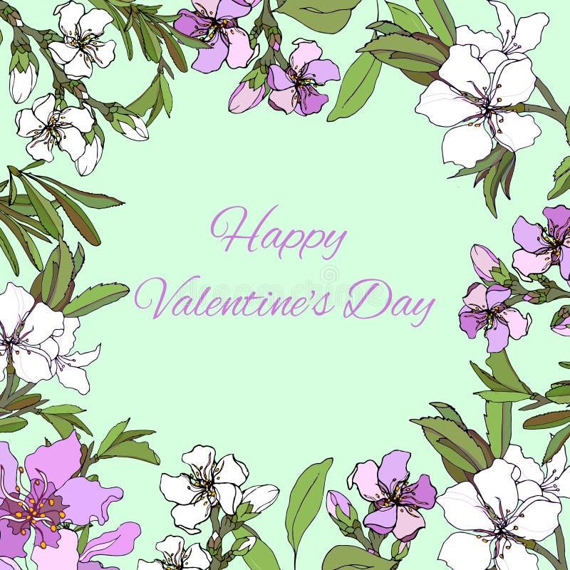 Ημέρα του διανυσματικού όμορφου λουλουδιών βαλεντίνου καρτών ευτυχούς στα ευγενή χρώματα ελεύθερη απεικόνιση δικαιώματος